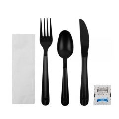 Kit, 6 Piece, Heavy Weight PP, Black (Knife, Fork, Tea Spoon, 1-ply Napkin, Salt, Pepper) (250 Kits Per Case)