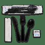 "Kit, 6 Piece, Heavy PP, Black, Fork, Knife, Teaspoon, 13"" x 17"" Napkin, Salt and Pepper (250 Kits Per Case)"