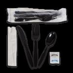 "Kit, 6 Piece, Heavy PS, Black, Fork, Knife, Teaspoon, 13"" x 17"" Napkin, Salt & Pepper (250 Kits Per Case)"