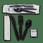 "Kit, 6 Piece, Medium Heavy PS, Black, Fork, Knife, Teaspoon, 12"" x 13"" Napkin, Salt and Pepper (250 Kits Per Case)"