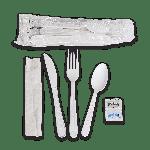"""Kit, 6 Piece, Heavy PP, White, Fork, Knife, Teaspoon, 13"""" x 17"""" Napkin, Salt & Pepper (250 Kits Per Case)"""