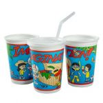 Kid's Cups Combo, Imagination Theme, 12 oz Thermoformed Cup w/disposable lid (250 Cups/Lids/Wrapped Straws)