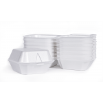 "Foam Hinged 6"" Sandwich, White, 5.81"" x 5.69"" x 3.13"", (500 Containers)"