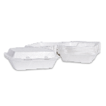 "Foam Hinged 3 Compartment, White, 9"" x 9"" x 3"", (200 Containers)"